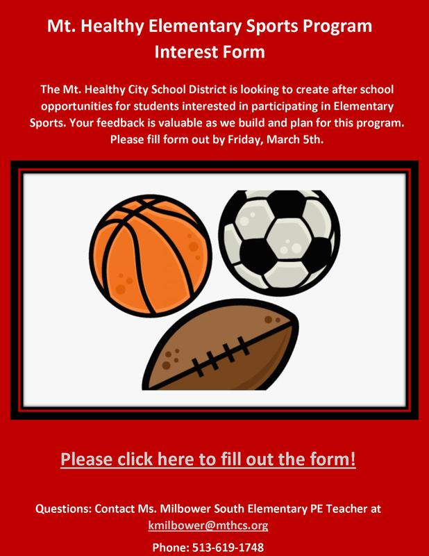 elementary sports flyer