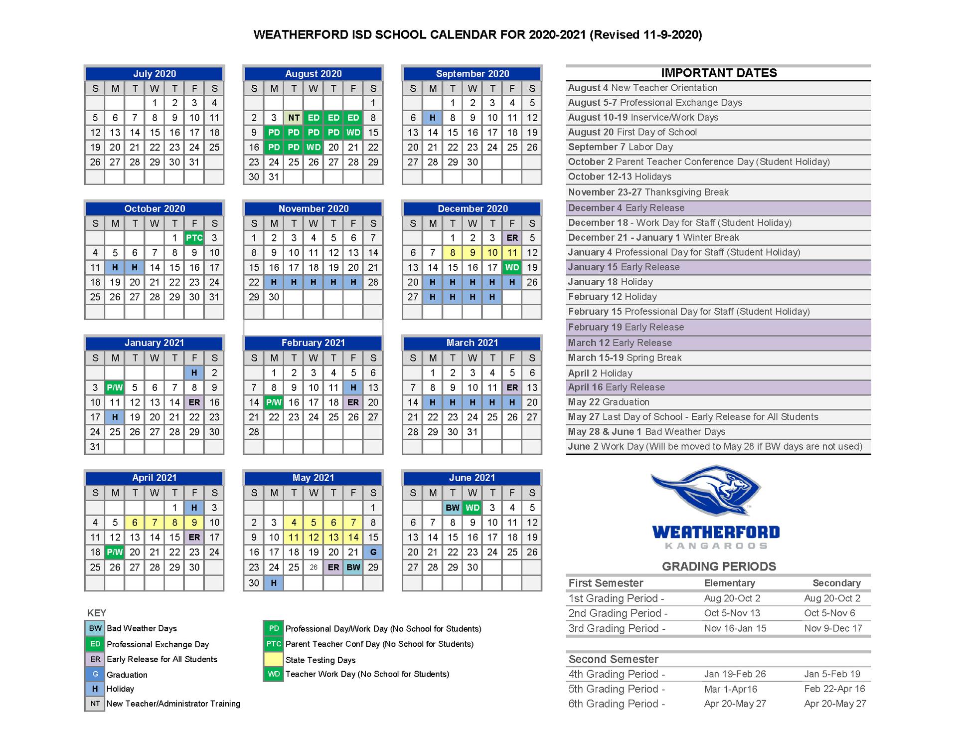 WISD School Calendar Image