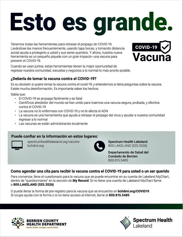Information from the Berrien County Health Department about the Covid-19 Vaccine - Spanish Version