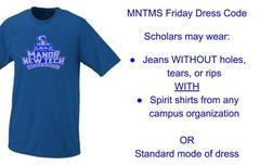 A Blue Manor New Tech Middle School Spirit Shirt to where on Friday's.