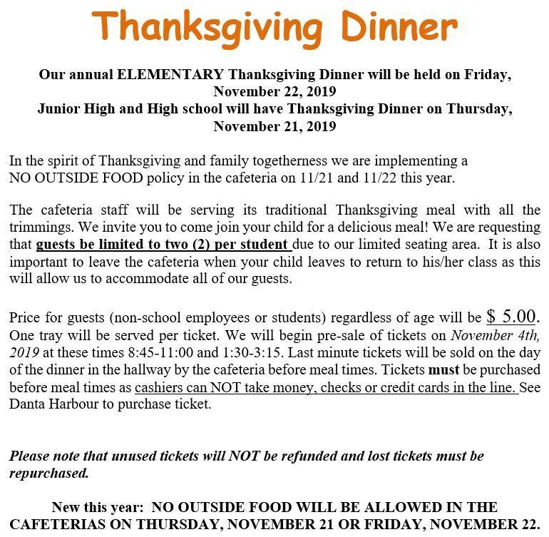 Thanksgiving meal information for high school