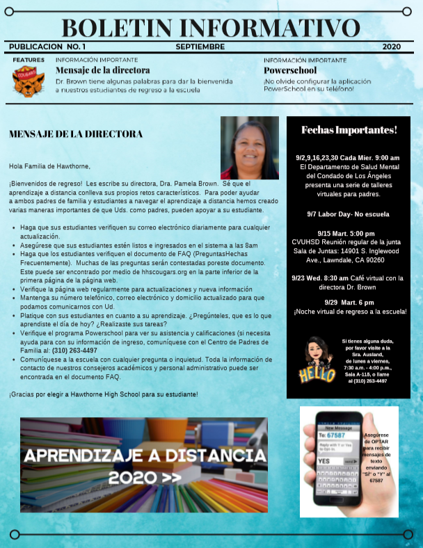 September Newsletter Spanish