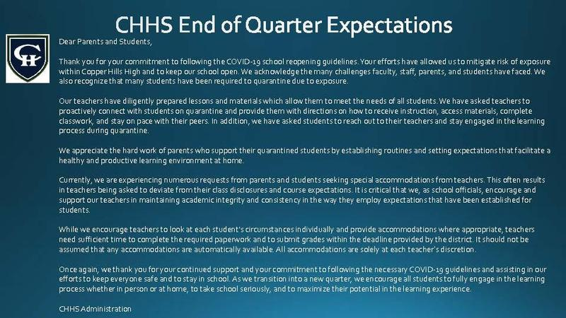 End of Quarter Expectations