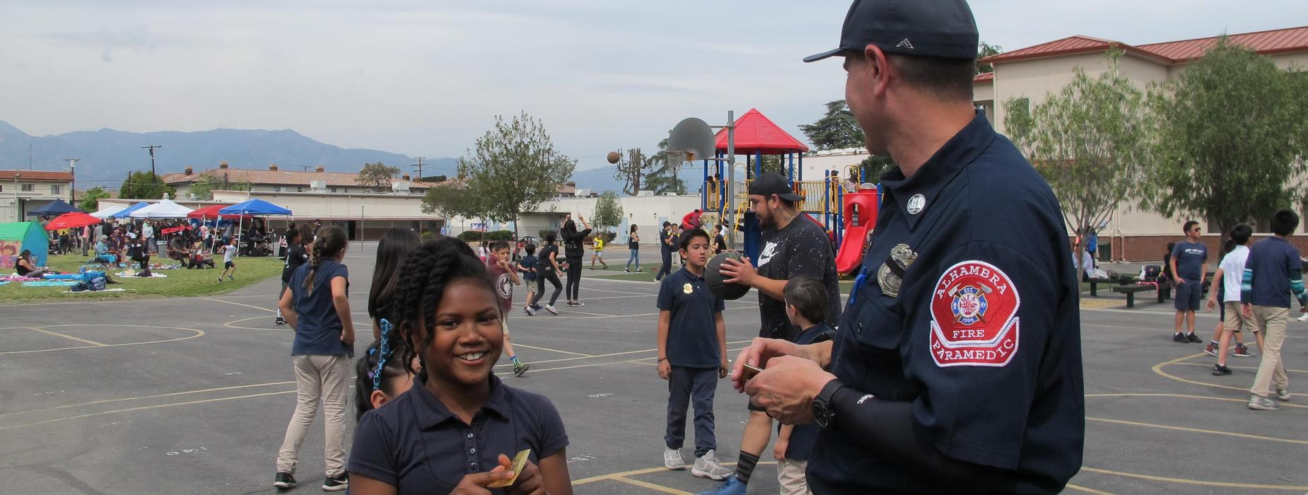 Marguerita students with Alhambra Firefighters