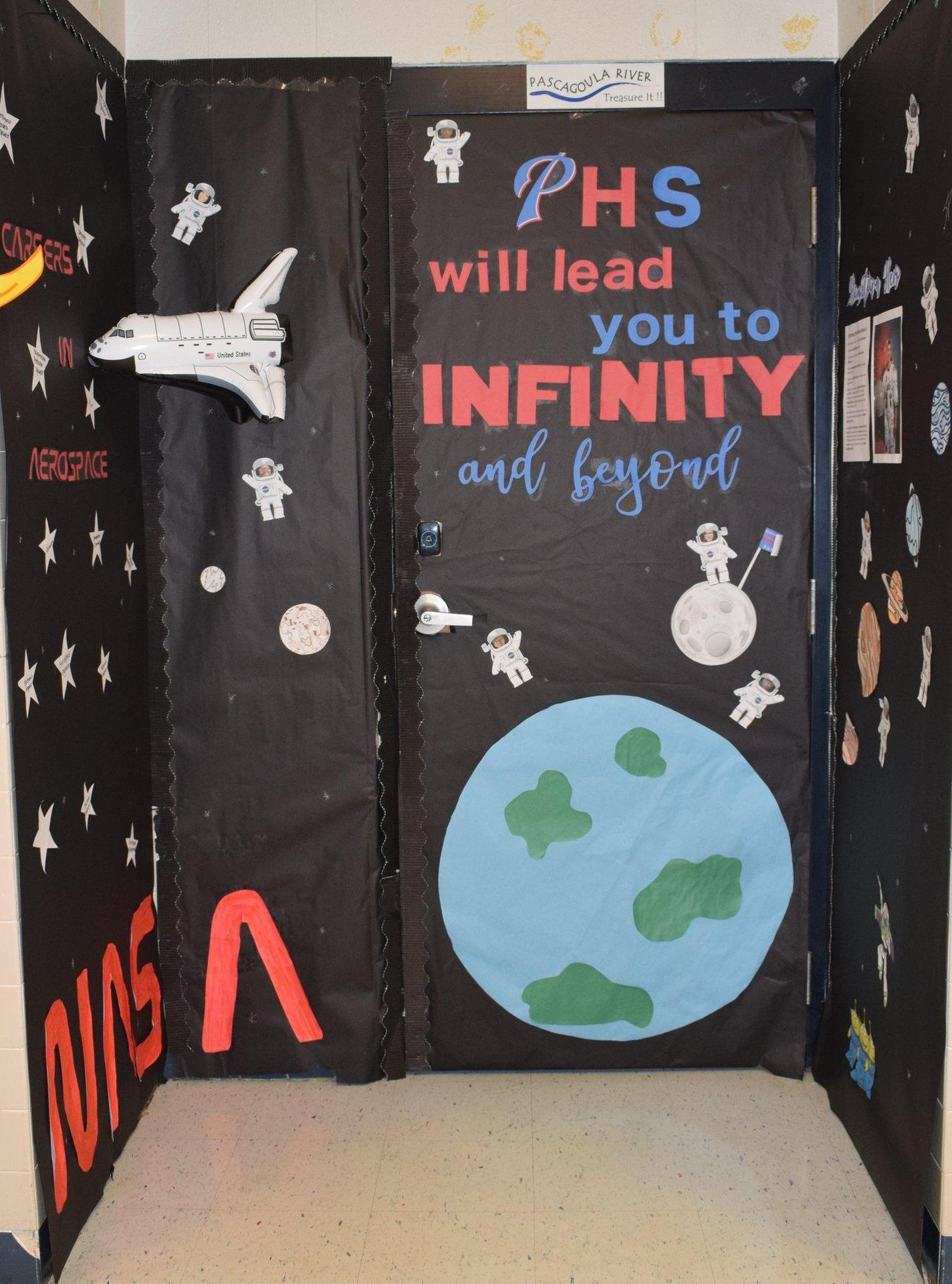 Door decorated with NASA