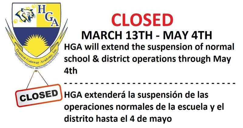 HGA Closed till May 4th