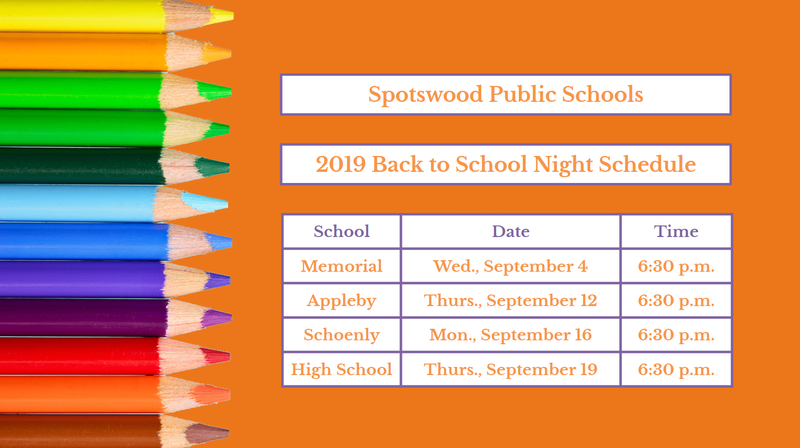 2019 Back to School Night Schedule Featured Photo