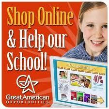 Picture of girl with catalog.  Text says shop online and help our school.