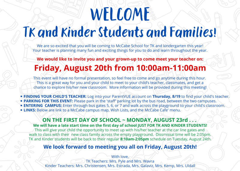 TK/Kinder Meet-the-Teacher Event on Friday, 8/20 Thumbnail Image