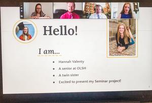 screen shot from senior presentation introducing self