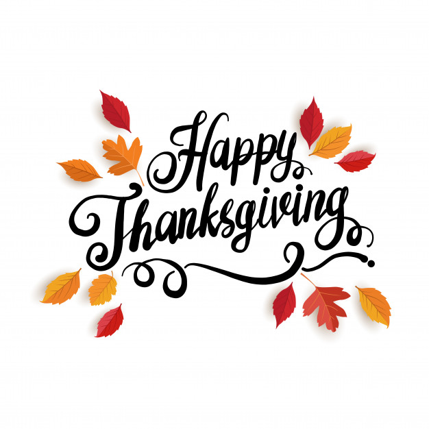 Happy Thanksgiving text with fall leaves