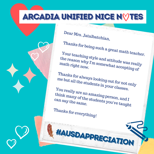 Arcadia Unified Nice Note