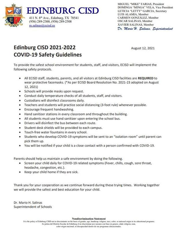 ECISD COVID-19 Safety Guidelines