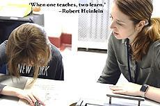 """When one teaches, two learn."" - Robert Heinlein, image of a teacher with a student"