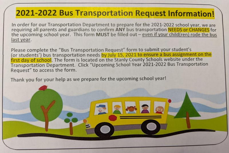 2021-2022 Bus Transportation Request Information Featured Photo