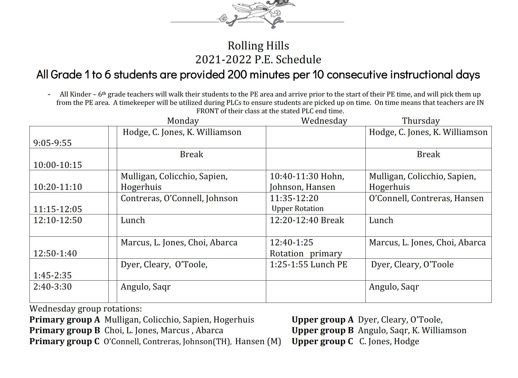 RH PE Schedule 2021-22
