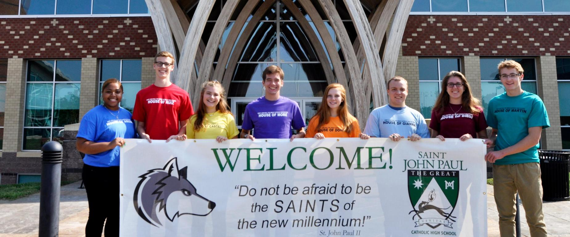 Students with Welcome Sign
