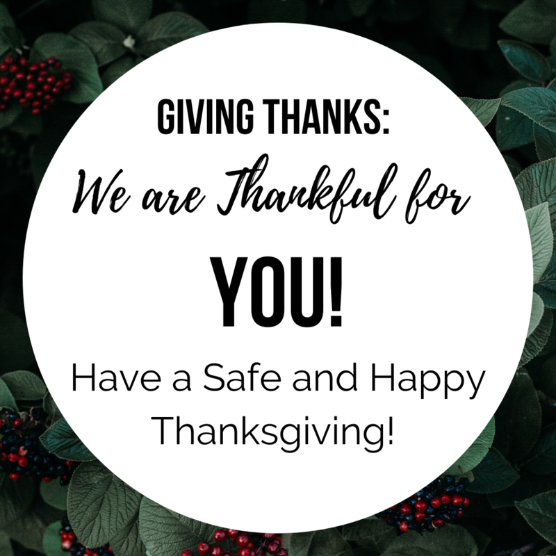 Giving Thanks: We are Thankful for YOU! Thumbnail Image