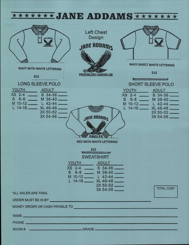 Purchase your Jane Addams school uniform shirts! (Short/long sleeve, sweatshirts) Thumbnail Image
