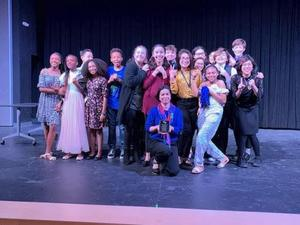 Manor New Tech Middle School theatre students and teacher earning first place