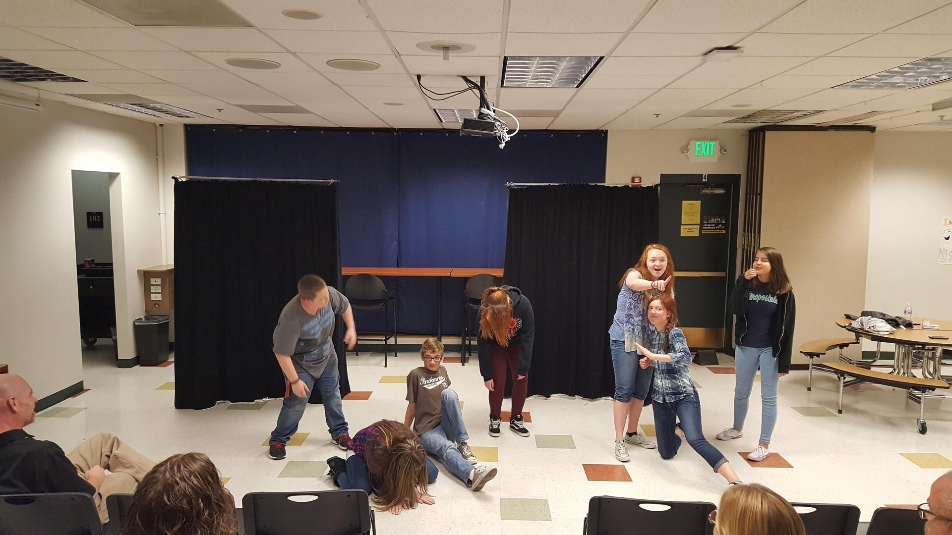 Students doing improv