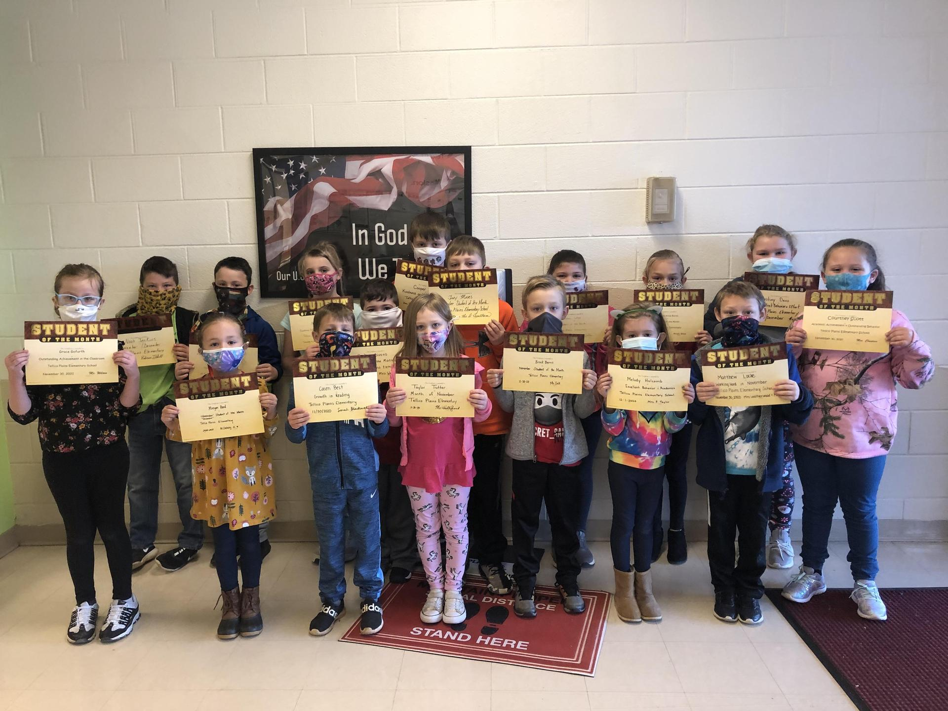 Picture of November/December 2020 Students of the Month at TPES