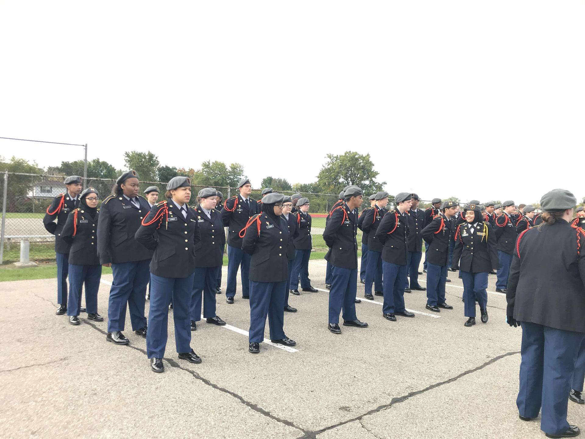 Cadets in formation at the homecoming parade