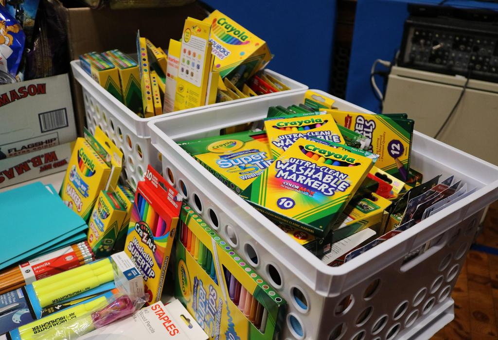 Photo of school supply donations collected during Wilson's Month of Hope.