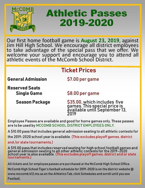 McComb High School Athletic Pass News 2019-2020