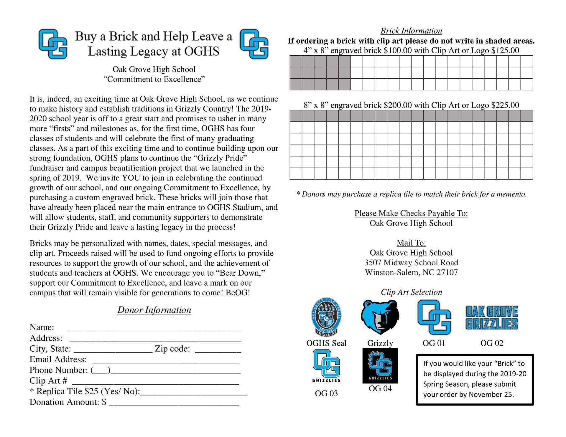 Brick Paver Fundraiser - November turn in