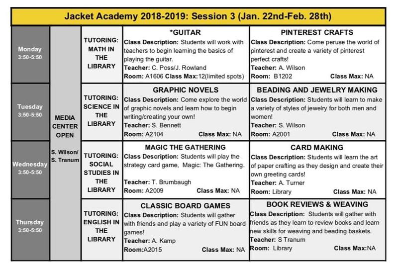 jacket academy session 3 begins on january 22nd