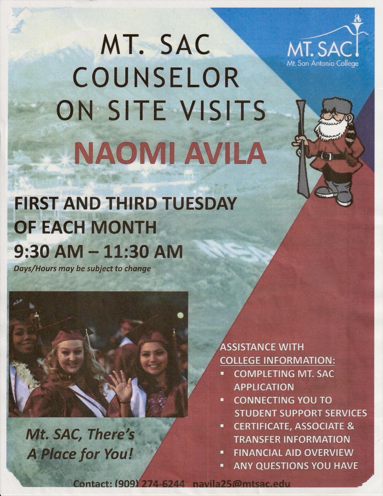 Mt. SAC Transitional Counselor Flyer