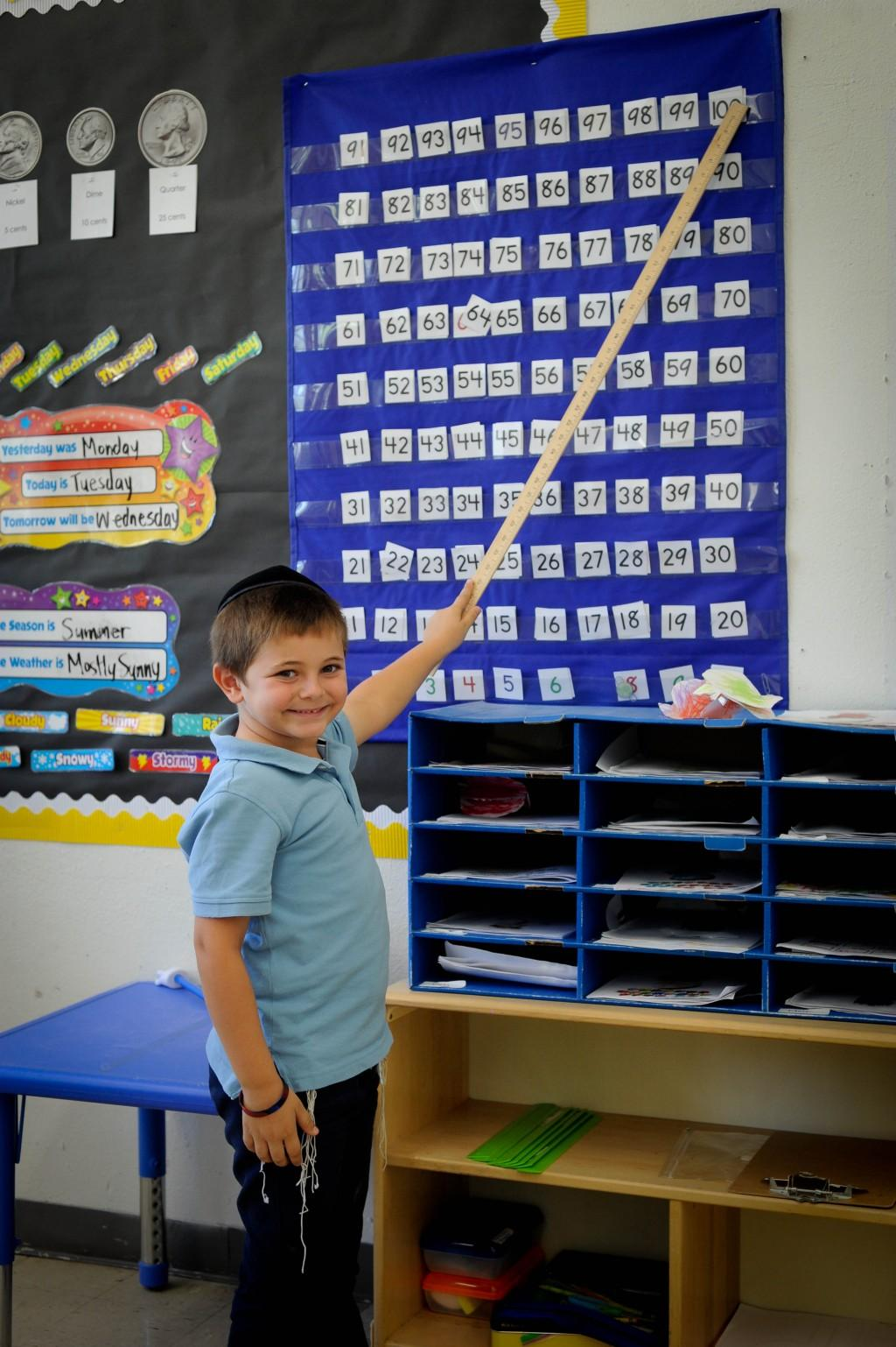 Boy pointing to numbers