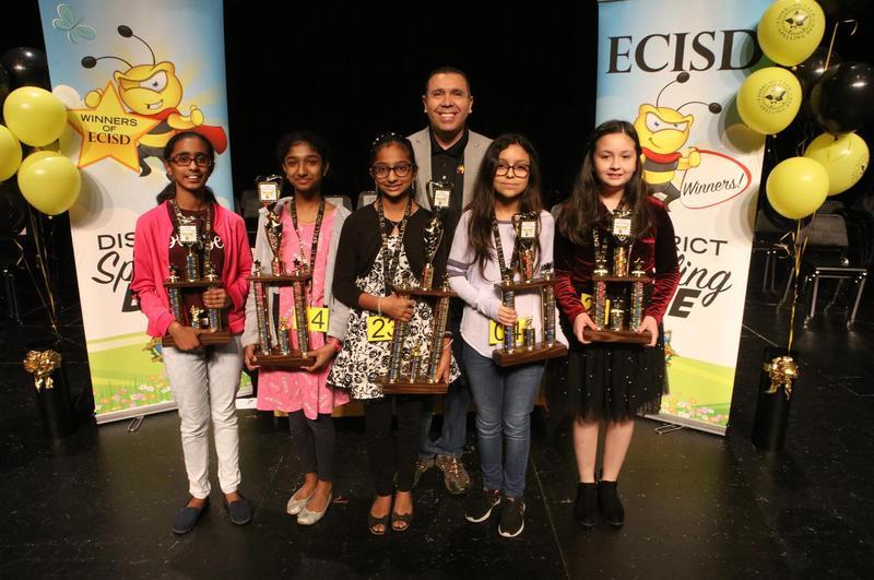 Edinburg CISD announces top spellers. Pictured L-R: Siya Vinoj (fourth-place winner), Isabel Thoppil (second-place winner), Ann Jacob (first-place winner), ECISD Superintendent Dr. René Gutiérrez; Karyn Gonzalez (third-place winner) and Abigail Alvarado (fifth-place winner).