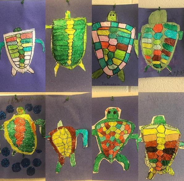 Eight versions of sea turtles created in art class by second grade students