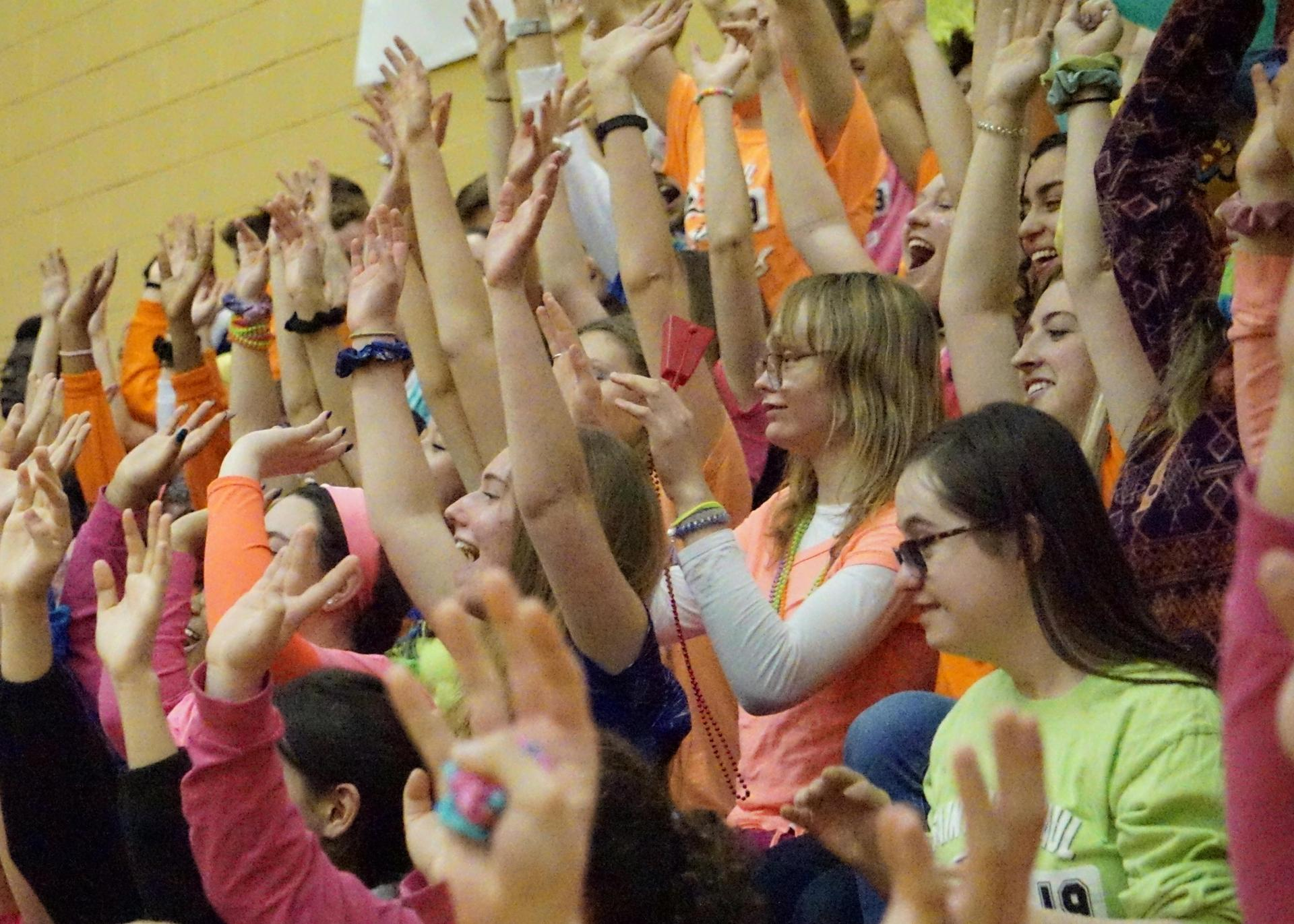 Students at a pep rally in the gym