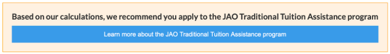 screen shot from tuition website