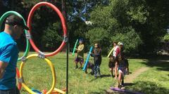Kids playing with hoola hoops