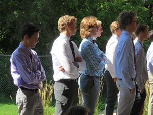 TKHS choir members listen to guest speakers at the 9-11 service.