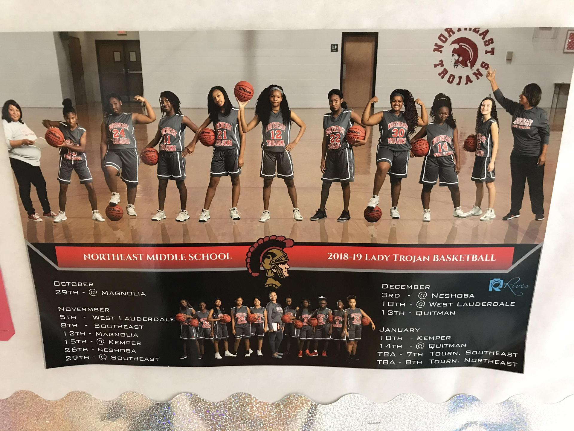 Northeast Middle School Lady Trojan basketball team members
