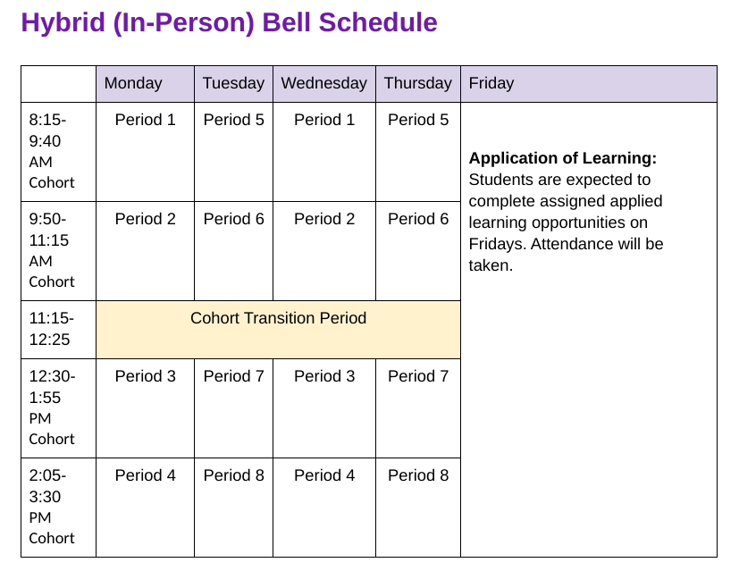 Student Bell Schedule