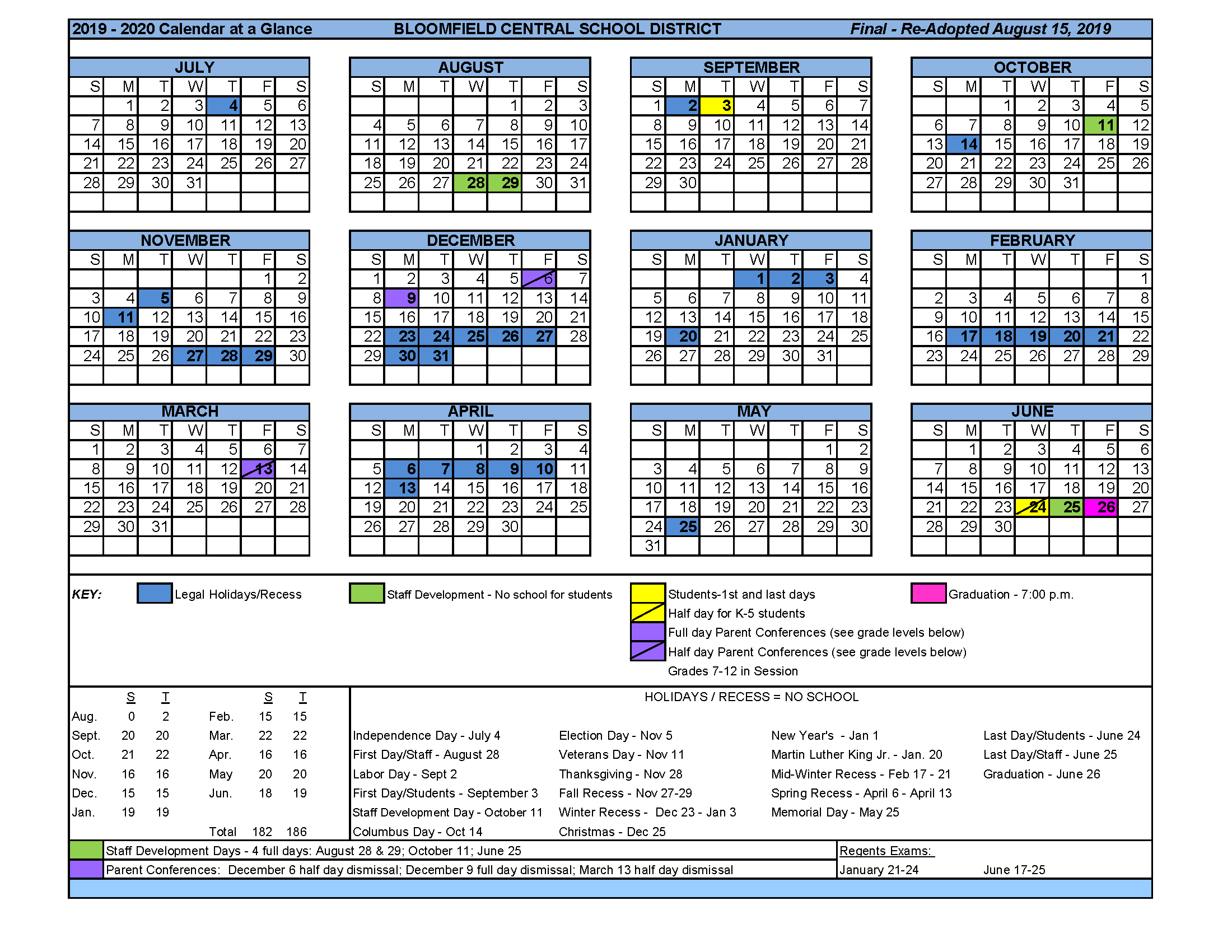At A Glance Calendar.Calendar At A Glance District Bloomfield Central School District
