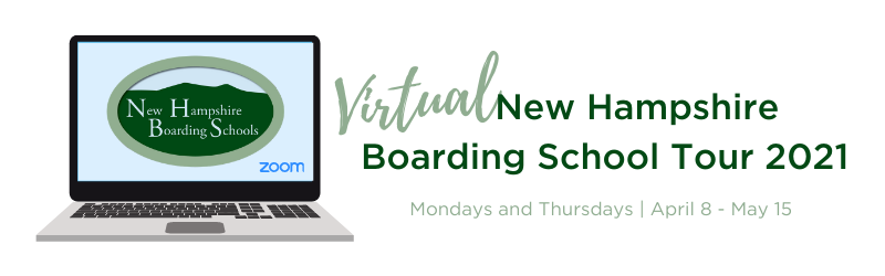 Graphic highlighting the Virtual New Hampshire Boarding School tour for 2021.
