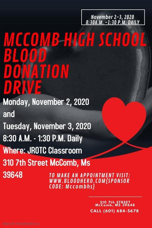 McComb High School Blood Drive 2020-2021