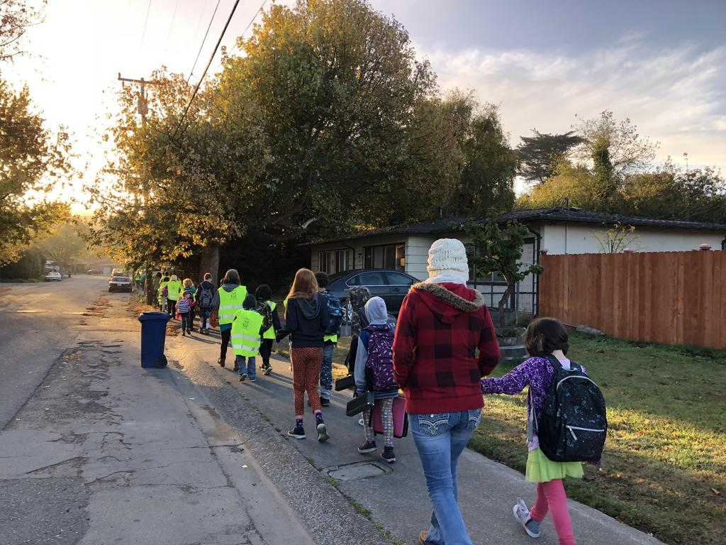 Group walking to school