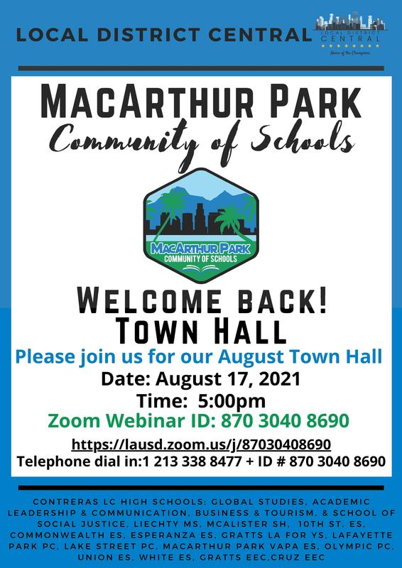 MacArthur Park Townhall Meeting August 17th @5PM Featured Photo