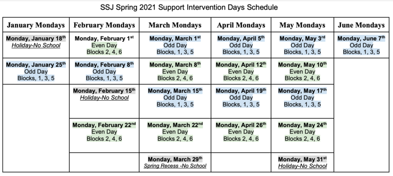 SSJ Schedule for Mondays Support Intervention Thumbnail Image