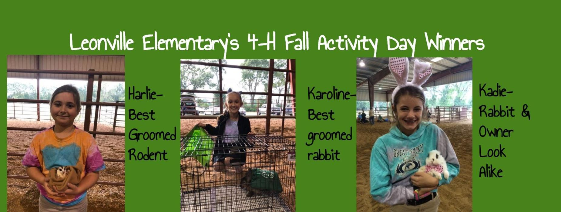 Leonville Elementary's 4-H Fall Activity Day Winners