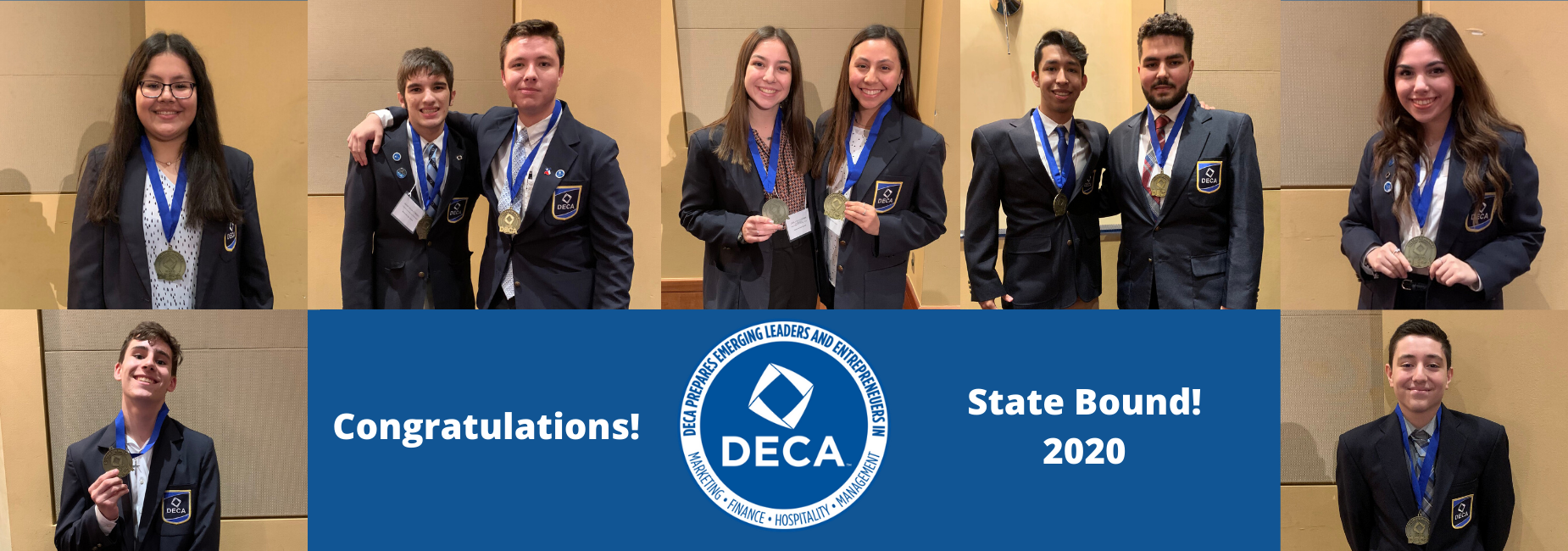 DECA students with medals
