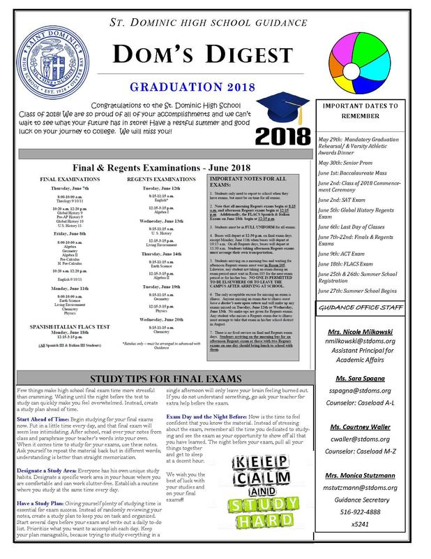 Dom's Digest - Guidance Department Newsletter (Graduation 2018 Edition) Featured Photo